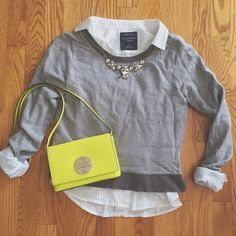 Grey Cropped Sweater✨ In great condition! Says small but fits like an xs! This is a cropped longsleeve in the color grey. ONLY THE SWEATER IS FOR SALE Rubbish Tops