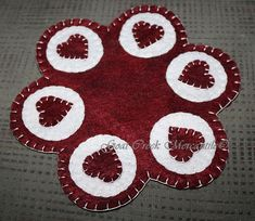 Just in time for Valentines Day!  These handmade, 9.5 inch candle mats are made from crafters  felt and treated with Scotch Guard to help pr...
