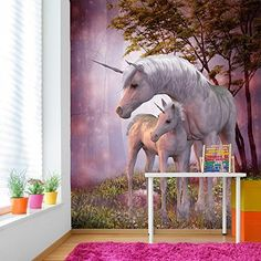 Magical Unicorn  Foal In Forest Fantasy Wall Mural Kids Photo Wallpaper available in 8 Sizes Gigantic Digital ** For more information, visit image link.