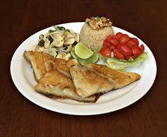 Arroz Integral, Filé de Tambaqui Grelhado, Salada 3 Champignon, Alface Americana e Tomates Perinhas.