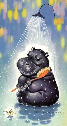 Hippo Animals And Pets, Baby Animals, Funny Animals, Cute Animals, Cute Hippo, Baby Hippo, Animal Paintings, Animal Drawings, Hippo Drawing