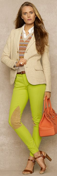 In the riding ring, a lime green jodhpur might be frowned upon. On the city streets, however, a fresh squeeze of citrus is just what you need to update this classic preppy piece. For Spring 2013, Ralph Lauren transforms the stable staple into something totally new: a statement pant that is as distinctive as it is practical.
