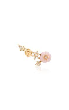 18K Gold, Diamond and Opal Single Earring by YVONNE LEON Now Available on Moda Operandi