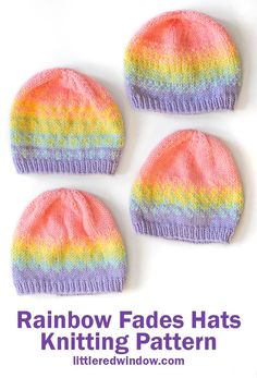 Knit any of four different rainbow fades hats in any of four sizes with this cute baby hat knitting pattern! Beanie Knitting Patterns Free, Fair Isle Knitting Patterns, Baby Hats Knitting, Knitted Hats, Hat Patterns, Free Knitting, Crochet Hats, Knit Headband Pattern, Baby Clothes Patterns