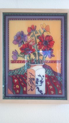 """""""Anemones"""" - painting behind glass with acrylic paint (reverse glass painting)"""