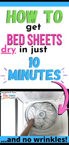 See how to get a perfectly dry and wrinkle-free bed sheet in just 10 MINUTES! And no tangled mess of sheets in the dryer anymore... which means less wrinkles.   tangled sheets   how to dry bed sheets   how to dry sheets faster   dry sheets hacks   dry sheets diy   laundry hacks Organizing Tips, Organization Hacks, Cleaning Hacks, Diy Home Crafts, Fun Crafts, Laundry Hacks, New Uses, Homemaking, Dryer