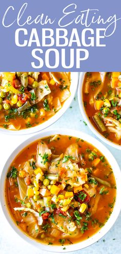 Cabbage is full of antioxidants, making this Clean Eating Cabbage Soup a nutrient-rich meal that is perfect for a healthy diet! Clean Eating Soup, Clean Eating Vegetarian, Vegetarian Soup, Clean Eating Recipes, Healthy Eating, Cabbage Soup Recipes, Cabbage Soup Diet, Healthy Soup Recipes, Diet Recipes