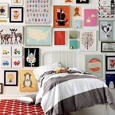 wide stripped duvet for shared kids room.  same duvet on each bed, but with boy and girl pillows