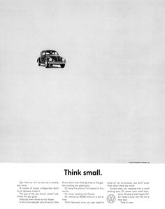 """content comes first Classic Volkswagen ad advising us to """"Think small.""""Classic Volkswagen ad advising us to """"Think small. Herb Lubalin, Happy Birthday Bill, Beetles Volkswagen, Volkswagen Group, Logos Retro, Retro Ads, Vw Vintage, Vintage Logos, Think Small"""