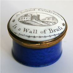 """An 18th century transfer printed enamel patch box with the motto """"A Sound Conscience is a Wall of Brass"""""""