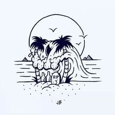 Skullusion  #jamiebrowneart #skull #wave #beach #palmtrees #sun #tropical…