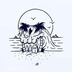 Skullusion #jamiebrowneart #skull #wave #beach #palmtrees #sun #tropical…