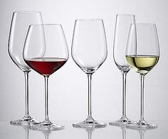 Difference in Wine Glasses:      A red wine glass is usually spherical or bowl-like. Sometimes red wine glasses are stemless. With a red, the body heat from the hand will serve to keep the wine at room temperature, or may heat it slightly.      White wine glasses may be more narrow, but often are not. You are supposed to hold a white wine glass by the stem to avoid heating it, because white wines are meant to be served cold.      Champagne flutes are narrow and straight.