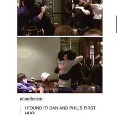I wish I could find the video (this is not my tumblr I just found the pic of this pic of their first hug)