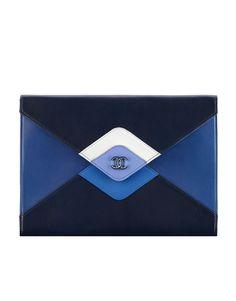 Clutch, couro de cordeiro & metal prateado laqueado-azul marinho escuro, azul & branco - CHANEL