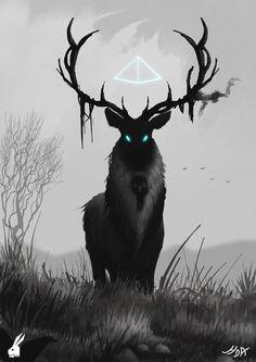 Deer by hunky-dory-artist on DeviantArt Dark Creatures, Mythical Creatures Art, Mythological Creatures, Magical Creatures, Fantasy Kunst, Dark Fantasy Art, Fantasy Artwork, Pet Anime, Fantasy Beasts