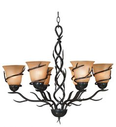 Twigs 6 Light Chandelier. Inspired by nature, this elegant collection blends the vibrance of a climbing vine with the soft glow of light. Twigs is ideal for both Asian-influenced and rustic or country-style rooms.