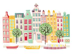 Never been to Amsterdamn, but I love this print! Amsterdam Canal boats cityscape Print by lauraamiss on Etsy, Amsterdam Art, Amsterdam Canals, Amsterdam Houses, Gravure Illustration, House Illustration, Kids Room Art, Art For Kids, Kids Rooms, Urban Sketching