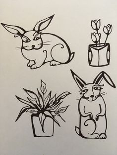 Easter's coming, Happy Spring!  #rabbit #drawing #easter #spring #flowers