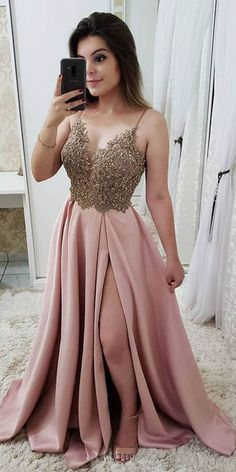 STRAP A LINE MAROON LONG BEADED PROM DRESSES WITH SPLIT AND GOLD LACE PG871 #promdresses #eveningdress #split