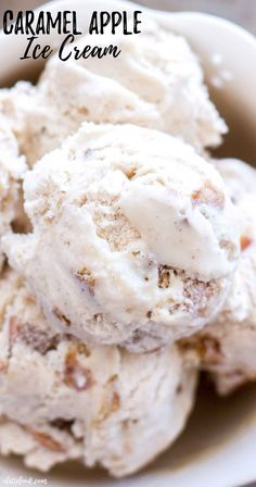 This No Churn Caramel Apple Ice Cream recipe is easy as pie (apple pie that is! The best no churn ice cream recipe be. Best Dessert Recipes, Apple Recipes, Gourmet Recipes, Party Recipes, Fall Recipes, Apple Pie Ice Cream, Frozen Desserts, Frozen Treats, Summer Desserts