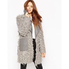 ASOS Coat with Faux Fur Body and Contrast Collar (87 BAM) ❤ liked on Polyvore featuring outerwear, coats, grey, tall coats, grey oversized coat, gray coat, gray faux fur coat and grey coat
