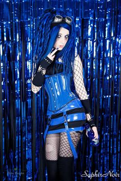 Blue/Red or Pink micro mini vinyl rave skirt Cyber-Goth #goth #rave