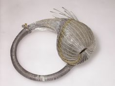 """""""Lace For May"""" Jane Bowden - 50 x 110 x 95 mm Bangle: handwoven sterling silver, titanium and gold"""