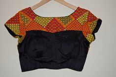 Vivid and stylish kutch work blouse in high boat neck M by Sravams