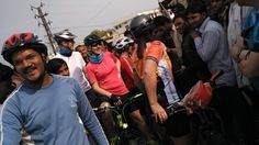 Cycling trip guest interacting with locals Cycling Tours, Rural India, People, Bike Rides, People Illustration, Folk