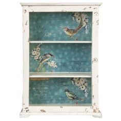 Wooden Cabinet with Pretty Blue Bird Design Backing – Allissias Attic & Vintage French Style