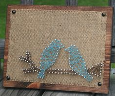 Birds Burlap and String art