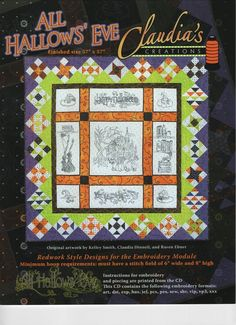 Halloween Sewing, Halloween Quilts, Machine Embroidery Applique, Cross Stitch Embroidery, Quilting Designs, Embroidery Designs, Trick Or Treat Bags, Embroidery Supplies, The Design Files