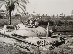 "A Soviet-made Egyptian T-55 tank caught ""hull-down"" and knocked out during the Yom Kippur War (October 1973)"