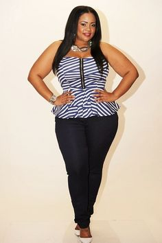New Plus Size Blue ZMJ Skinny Jeans Sizes 14, 16, 18, 20 available at www.chicandcurvy.com #plussize #plussizefashion #plussizejeans