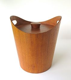 Vintage Teak Ice Bucket Mid Century Danish Mod Design by nyssaink, $38.00