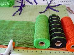 Tutorial for making a Halloween mailbox cover with Deco Poly Mesh and new Work Creations Ribbon Rail (straight frame that you bend). See more images and instructions on the Trendy Tree Blog www.trendytree.co...