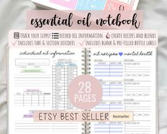 Essential Oil Journal, Essential Oil Planner, With Tabs & Printable Essential Oil Labels | Essential Oil Blends and Recipes by DesignerJaim on Etsy Essential Oil Blends, Essential Oils, Blank Labels, Happiness, Business Planner, Bottle Labels, Happy Planner, Printable Planner, As You Like