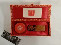VINTAGE CHINESE CARVED DRAGON CHOP STAMP SEAL SET WITH INK PASTE TIN AND CASE #TheEclectorium