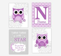 Personalized Baby Nursery Decor & Gifts – Canvas & Wall Art Prints – Baby Blankets – Kids Bed and Bath Wall Art Baby Boy Nursery Decor, Owl Nursery, Nursery Wall Art, Nursery Ideas, Baby Room, Baby Girl Elephant, Pink Elephant, Personalized Wall Art, Baby Prints