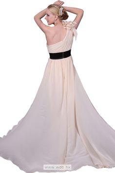 """Flower ruffles decoration one shoulder chiffon dress  $128.99"""