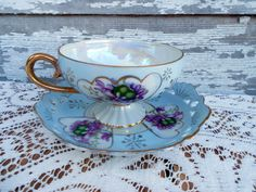 Vintage Teacup ~ Tea Cup and Saucer ~ Violets and Hearts  by Lefton. $19.99, via Etsy.