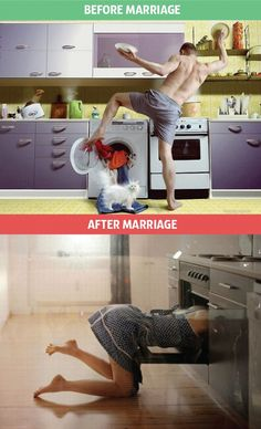 Nine photos that show brilliantly how life changes after marriage
