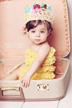 More of the yellow romper by Skye Johansen Photography.  Crown by Miss Ruby Sue.