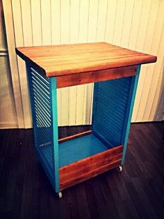 Prep table made from old shutters, scrap wood, and butcher block! (Fun weekend project)