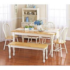 Better Homes and Gardens Autumn Lane Farmhouse Dining Table, White and Natural - Walmart.com