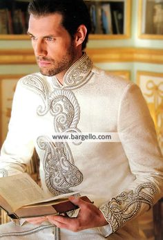 Bespoke Sherwani for Mens Wedding Sherwani in Off White  Color: Off-White Fabric: Polyester Jamawar Always