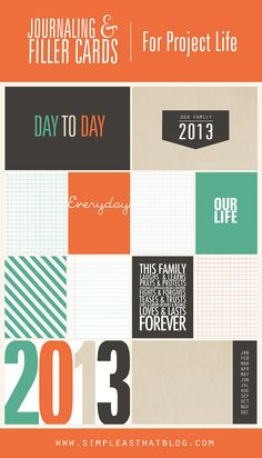 2013 Project Life Pages   Printable Cards