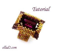 Tutorial Fancy Rectangle Ring Beading patterns PDF by Materials: Miyuki Delica colors) - Miyuki seed beads color) - Swarovski rectangle crystal (Swarovski octagon fancy stone You can find it: She gives several sources Seed Bead Tutorials, Seed Bead Projects, Beading Tutorials, Beading Patterns, Tutorial Anillo, Earring Tutorial, Beaded Rings, Beaded Jewelry, Beaded Chocker