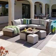 Small Patio Furniture, Patio Furniture Cushions, Diy Garden Furniture, Outdoor Furniture Sets, Outdoor Decor, Furniture Ideas, Resin Furniture, Furniture Design, Wicker Furniture